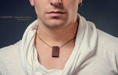 Pendant Male Amulet for Men`s <King Energy> Necklace Red Tree | Rectangle
