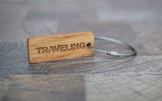 Wooden Keychain <TRAVELING> Keychain Gifts