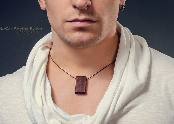 Amulet for Men`s <King Energy> Necklace Red Tree | Pendant  Rectangle