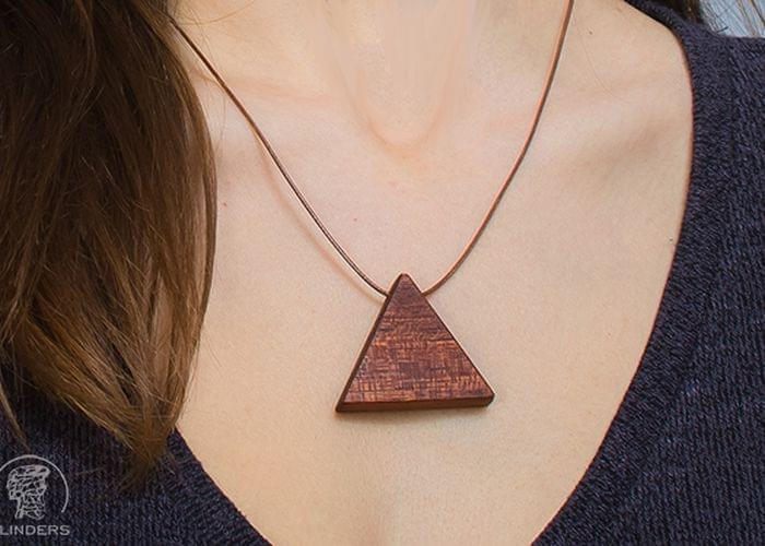Wooden Pendant <Trinity Energy> Decoration Red Wood | Triangle