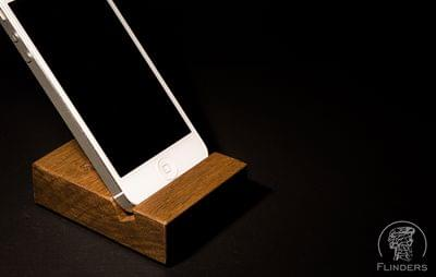 Stand for iPhone 4+5+6 <Easy> Stand for Smartphone. Brown Oak. Apple Accessories